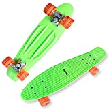 Datechip Kids Complete Skate Boards – 22 inch Plastic Skateboards with Super PU Wheels for Girls Boys Children Beginner