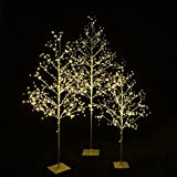 Starlit Tree Collection Cambo, Pack of 3, 4 Feet, 5 Feet, and 6 Feet, Silver Finish, Warm White Lights, Perfect For Home Decor, Holiday, Party, Wedding