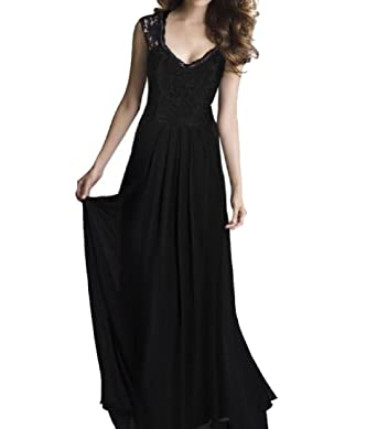 SportsX Women Splice Lace Party Evening Dresses Chiffon Wedding Vogue Long Dress Black XS