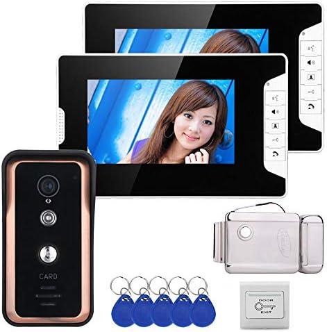 有線7インチのビデオドア電話インターホン呼び鈴システム2モニタ1 RFID IR-CUTカメラ+ステンレス鋼の電子ドアロック