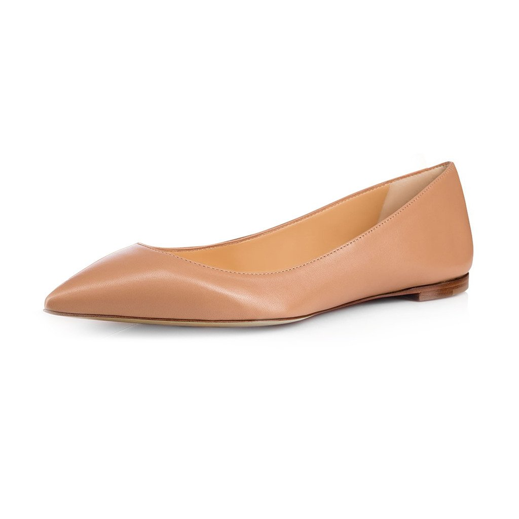FSJ Women Fresh Floral Printed Flats Pumps Pointed Toe Slip On Dress Shoes for Comfort 4-15 US B07352PSHZ 7.5 B(M) US|Nude