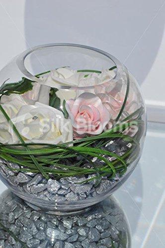 Inspiración Vintage rosa fresca Touch rosa y marfil rosa pecera arreglo Floral: Amazon.es: Hogar