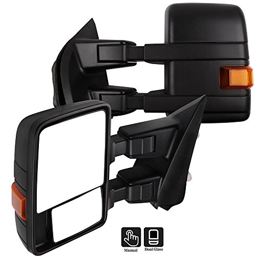 Eccpp Towing Mirrors A Pair Of High Performance Exterior Automotive Mirrors Replacement Fit For 2015 2016 2017 Ford F 150 With Reflector Manual Operation Extending And Folding Black Housing