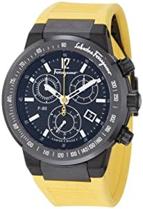 Salvatore Ferragamo Men's F55LCQ6809 SR05 F-80 Ceramic Tachymeter Bezel Sapphire Crystal Yellow Rubber Chronograph Date Watch