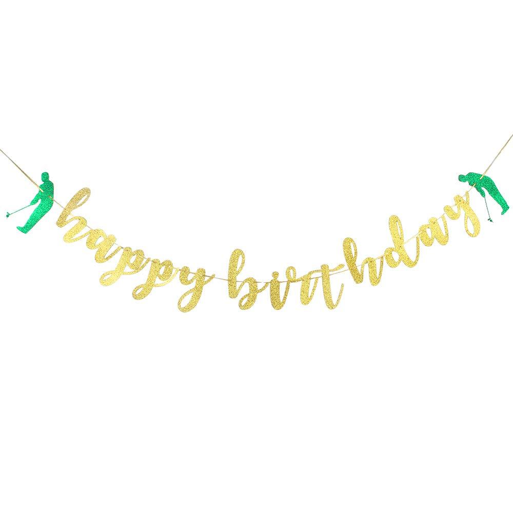 ゴールドグリッター ハッピーバースデー バナー ゴルフバナー 誕生日 お祝い パーティー デコレーション用品   B07PXLWS5G