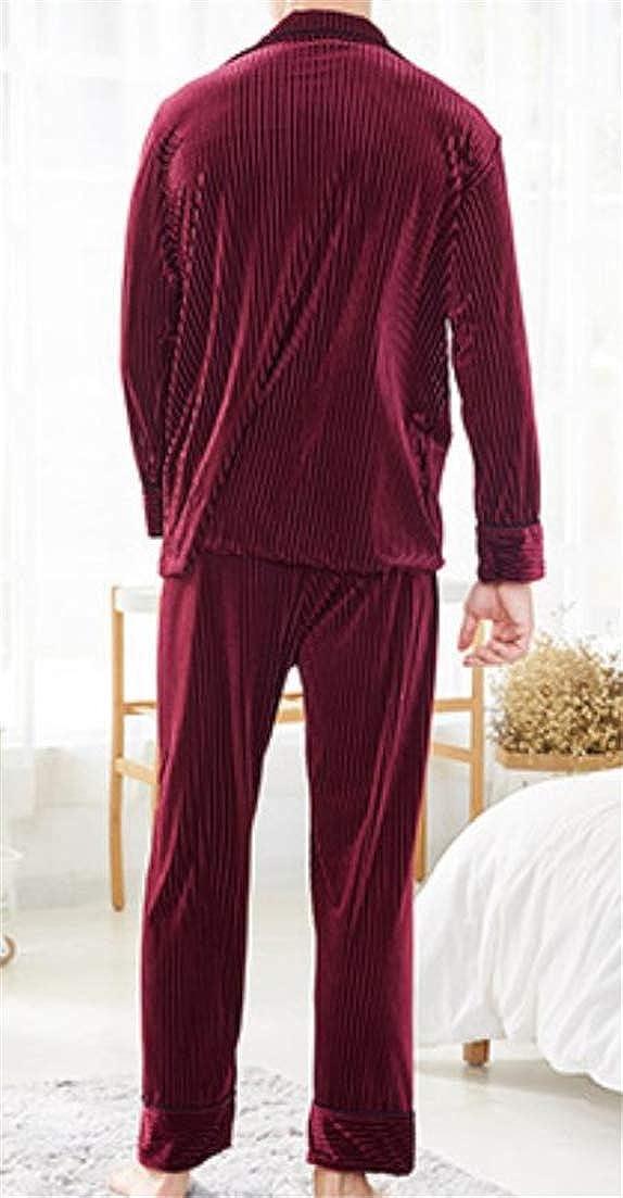 Lutratocro Men Autumn Winter Button Front Loungewear Nightie Velour 2 Piece Lapel Solid Pajama Set