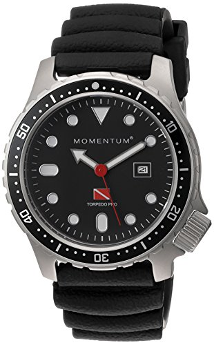 Men's Sports Watch | Torpedo Pro Dive Watch by Momentum | Stainless Steel Watches for Men | Analog Watch with Japanese Movement | Water Resistant (200M/660FT) Classic Watch - Black / 1M-DV44B1B ()