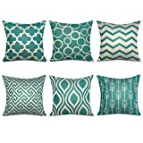 Topfinel Green Cushion Cover Canvas Decorative Square Throw Pillow Cases for Sofa Bedroom 18 x 18 Inch, with Invisible Zipper 45cm x 45cm,Set of 6