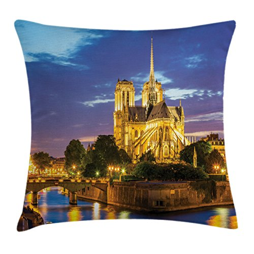 Paris Throw Pillow Cushion Cover by Lunarable, Notre Dame Cathedral at Dusk Paris France Riverside Scenery Water Reflection, Decorative Square Accent Pillow Case, 26 X 26 Inches, Yellow Brown - Riverside Shops At The