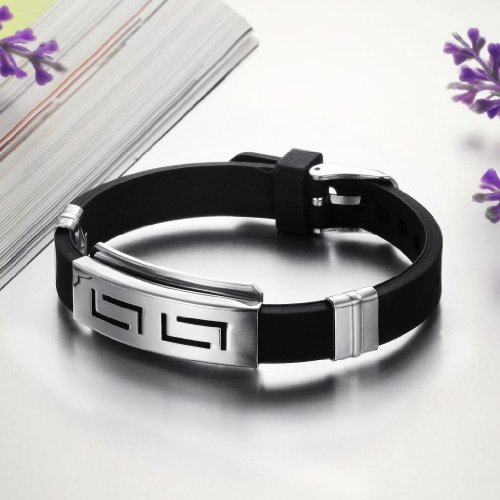 3Aries Jewelry Fashion Cool Stainless Steel plate metal Men's Bracelet Black Genuine Silicone Clasp Chain Men Bangle 22cm,21g
