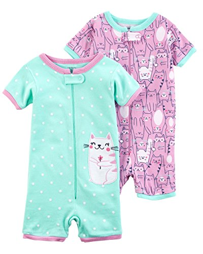 - Carter's Girls' 2-Pack Zip-Up Snug Fit Cotton Romper PJS (4T, Mint/Purple)