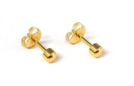 Mytoptrendz® 1 pair Sterilized Hypoallergenic Stud Ear Piercing Earrings Gold Tone 4mm Heart Shaped Stud Fashion Earrings Cpb7j