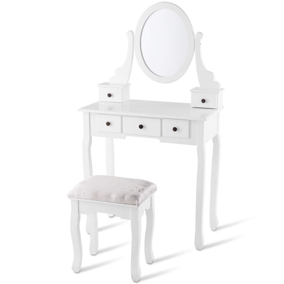 USA_Best_Seller White Modern Compact Contemporary Dressing Table Set with Oval Mirror, Stool and 5 Storage Drawers Organizer Jewelry Cosmetics Holder Display Bedroom Furniture by USA_Best_Seller
