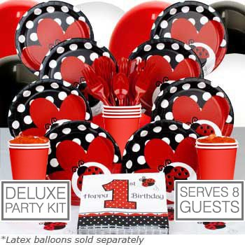 Ladybug 1st Birthday Deluxe Kit (Serves 8) - Party Supplies