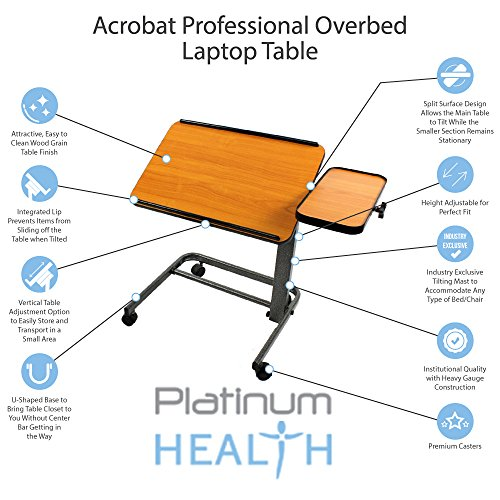 Platinum Health Acrobat Professional Overbed/Laptop Table, Tilting Mast, Height Adjustable with Casters. Split Top and folds for Easy Storage. U-shaped base