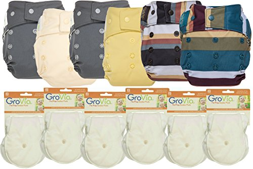 Hybrid Package - GroVia Hybrid Part Time Package: 6 Shells + 12 No Prep Soaker Pads (Color Mix 17 - Snap)