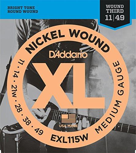 D'Addario EXL115W Nickel Wound Electric Guitar Strings, Medium/Blues-Jazz Rock, Wound 3rd, 11-49