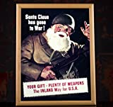 "WW2 Vintage Christmas Propaganda Poster reproduction - ""SANTA CLAUS HAS GONE TO WAR!"" (8.3x11.7, Yellow wood frame + safety glass)"
