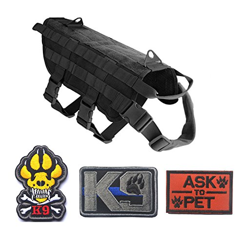 Homiego Tactical Military Police Service Dog Training Molle K9 Vest Harness for Hiking Camping (XL, Black)