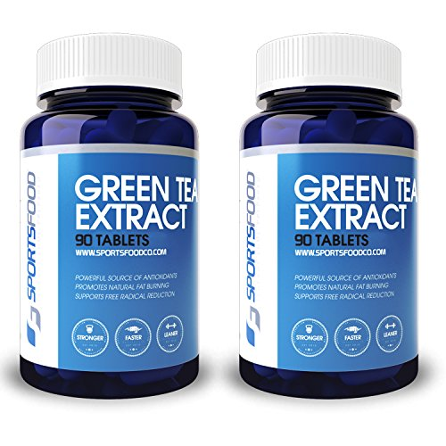 - 2x Sports Food Pure Green Tea Extract - 98% Polyphenols 50% EGCG Fat Burner - 1000mg x 90 Pills - Natural Cleanse and Increase Weight Loss - Organic Caffeine for Natural Energy and Detox Booster