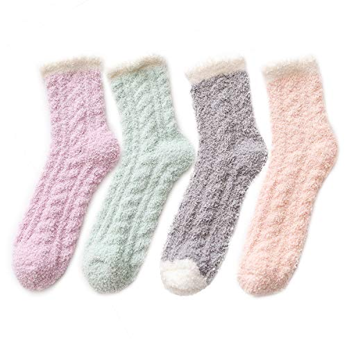 Century Star Women's Warm Fuzzy Fluffy Socks Super Soft Cozy 5-6 Pairs Christmas Gift Home Slipper Socks 4 Pairs-Solid Colors]()
