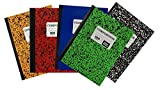 1 Subject Wide Ruled Marble Neon Composition 100 Page Notebook Variety Pack of 5