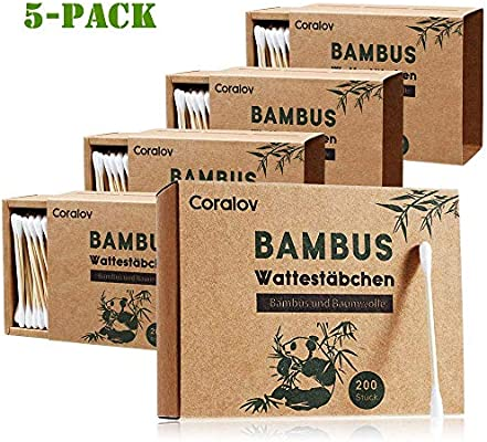1000 Pcs Cotton Swabs Cotton Buds Durable /& Compostable Ear Sticks Eco Friendly Sustainable Wooden Eco Cotton Buds 100/% Biodegradable Organically Cotton Wool Buds