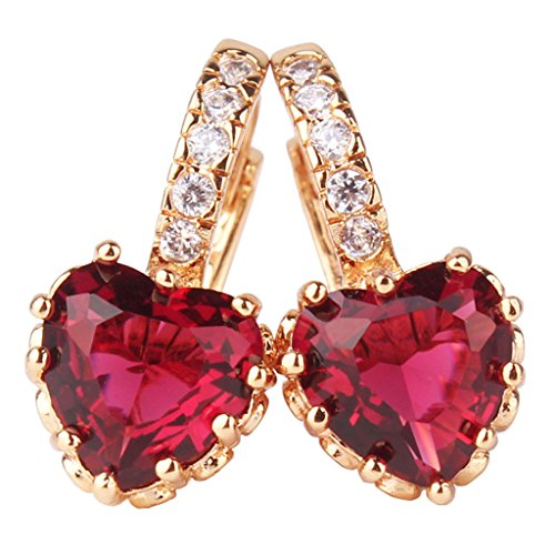GULICX Jewelry Girls Gold Electroplated Red Cubic Zirconia Prong Love Heart Pierced Huggie - Red Gold Heart Earrings
