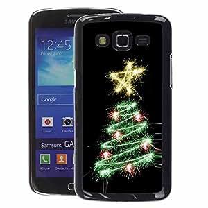 A-type Arte & diseño plástico duro Fundas Cover Cubre Hard Case Cover para Samsung Galaxy Grand 2 (Tree Black Star Lights Black)