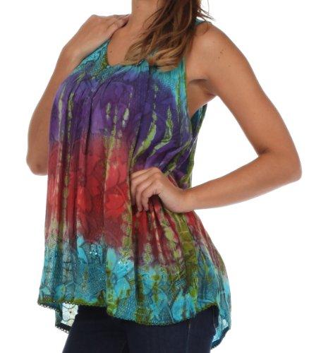 Sakkas Multicolore Tie Sans Manches Dye and Chemisier Floral Turquoise Paillettes UUSqwnRxZ