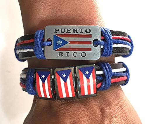 Boricua 2pc Puerto Rico Flag Wristband Set One Size fit's All Puerto Rican Pride