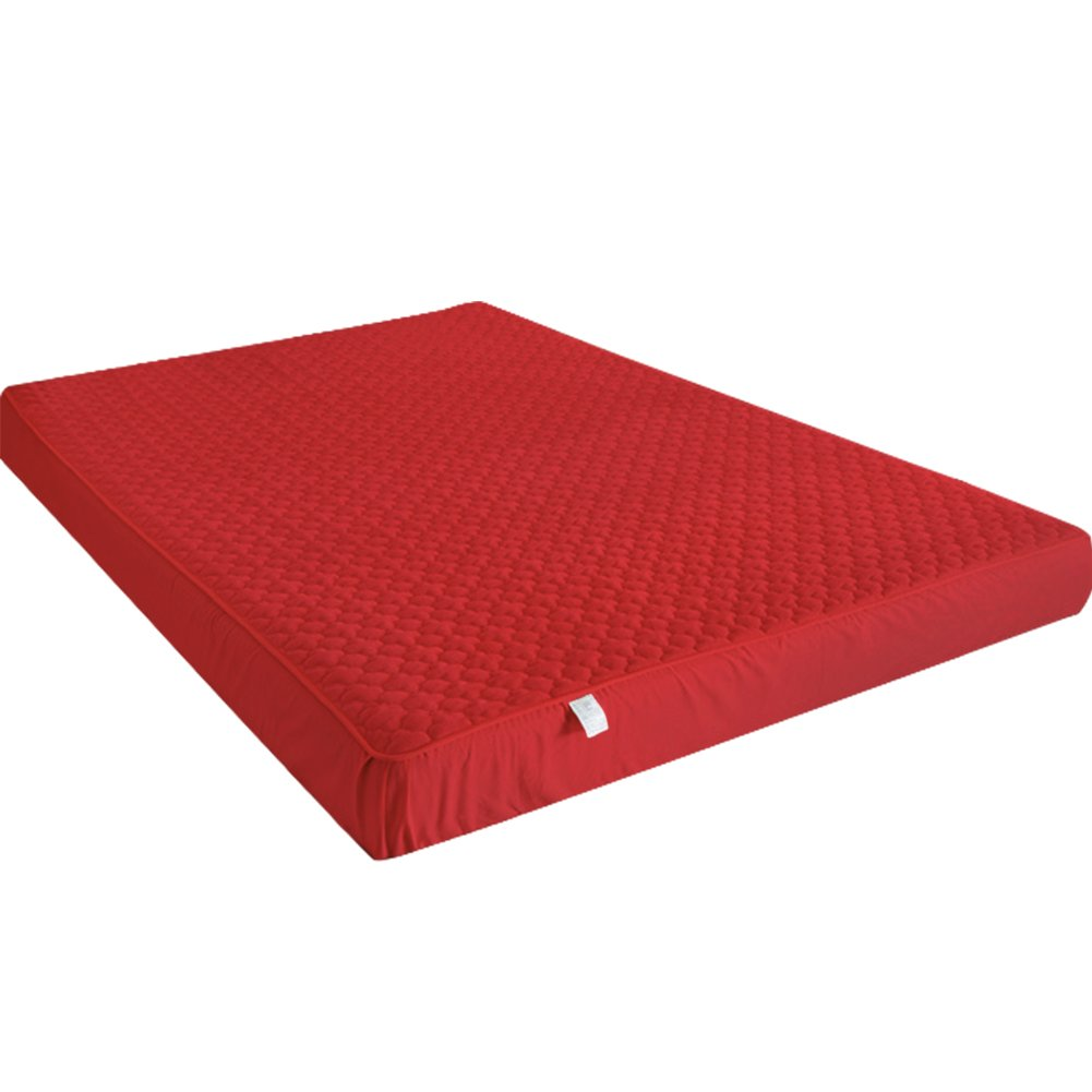 WINGOFFLY Heightening Crystal Plush Mattress Pad Protector Machine Washable Mattress Bed Cover for Dorm Hotel (Full, Red)