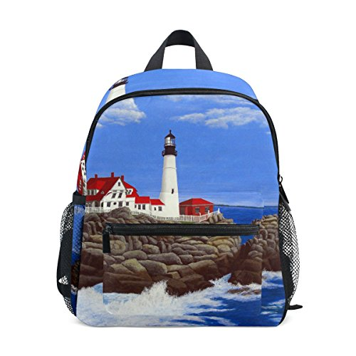 imobaby Portland Lighthouse Painting Unisex Outdoor Daypackes Bags 2th 3th 4th Grade School Backpack for Kids Boys Girls