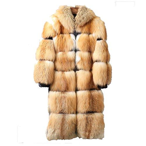 Denny&Dora Men's Fox Fur Long Coat Only Custom Hooded Fur Coat Super Warm (Golden, Custom)