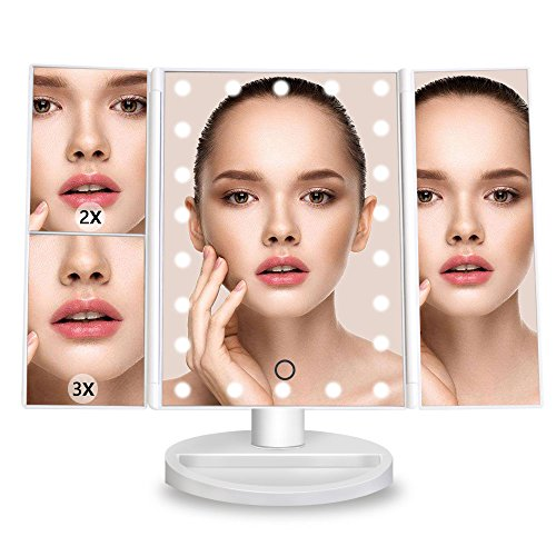 DreamGenius Makeup Mirror Lighted Vanity Mirror with 3X/2X Magnifying Upgraded Led Makeup Mirror with Adjustable Touch Screen by DreamGenius