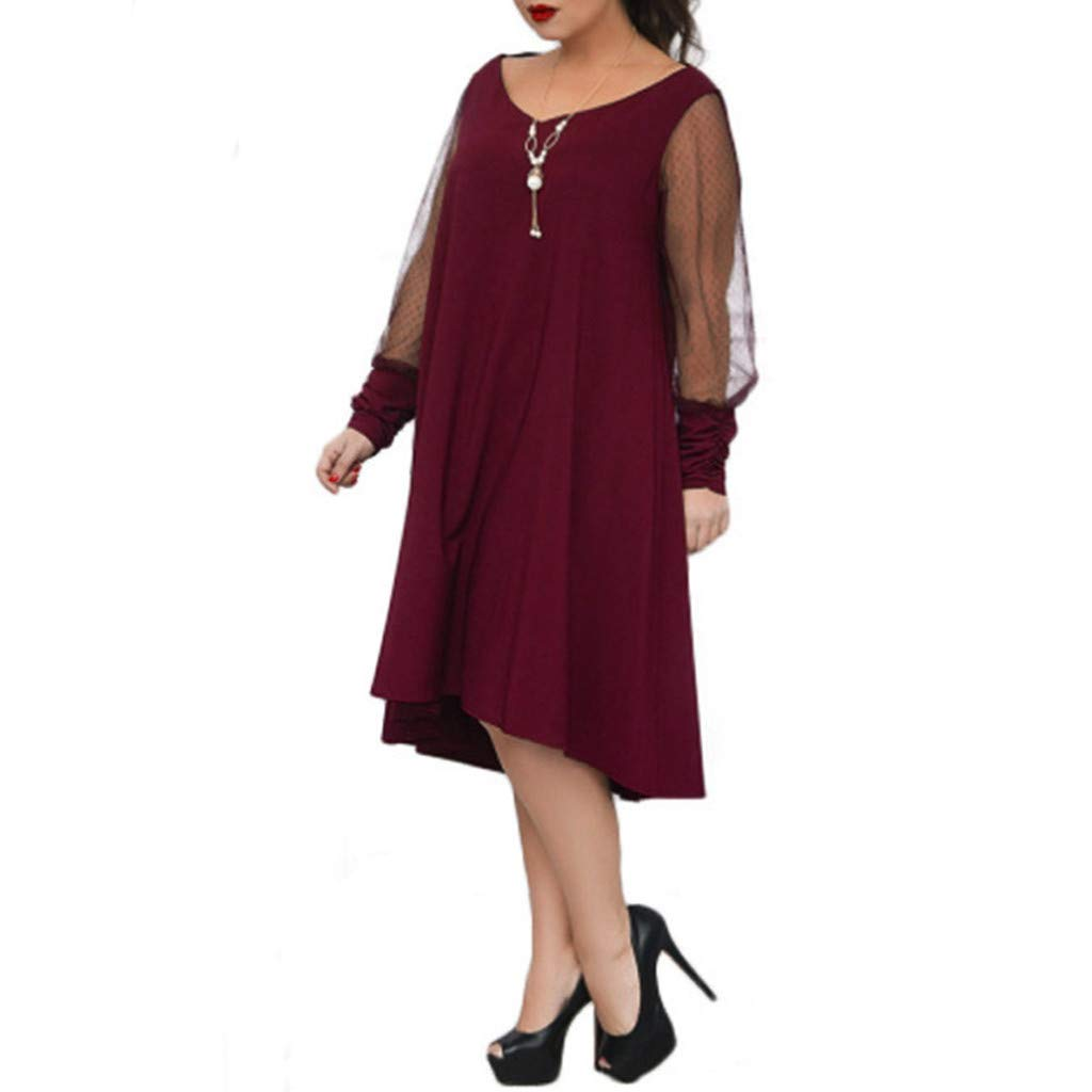 Plus Size Women Long Sleeve Baggy Midi Dress Ladies Party V Neck Lace Tunic Dress Top 2XL-6XL (Wine Red, XXXXXL) by Unknown (Image #4)