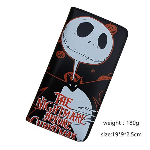 CHITOP PU Leahter Wallet Printed W-Pumpkin King Jack Skellington of Animated Cartoon-The Nightmare Before Christmas (A Long)