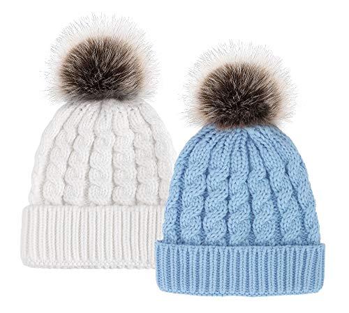 Simplicity Winter Hand Knit Faux Fur Pompoms Beanie 2 Pieces White/Light ()