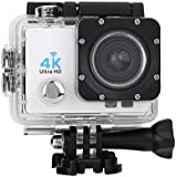 Acouto Sports Action Camera,4k 12MP front Flash Camcorder 140°Angle with Remote Controller,Waterproof Housing Case,Adapter Bracket,USB Cable,US Plug and more Accessories Kits (White)