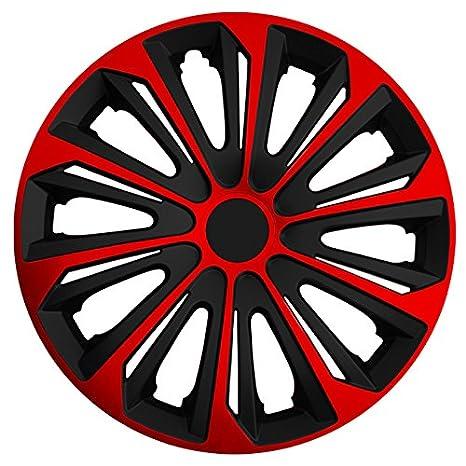 (tamaño a elegir) Tapacubos/Tapacubos Strong bicolor (Negro de color rojo)