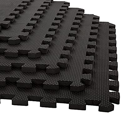 Stalwart 6 Pack Interlocking EVA Foam Floor Mats Black 24x24x0.50 by Stalwart