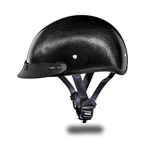 Daytona Helmets Carbon Fiber Slim Line Skull Cap Half Shell Helmet (Large) with Head Wrap and Draw String (Carbon Half Helmet)