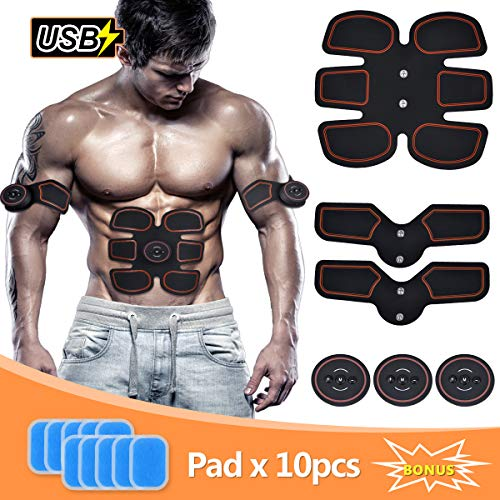 Abs Trainer, SLB USB Rechargeable Muscle Stimulator, Updated EMS Ab Toner...