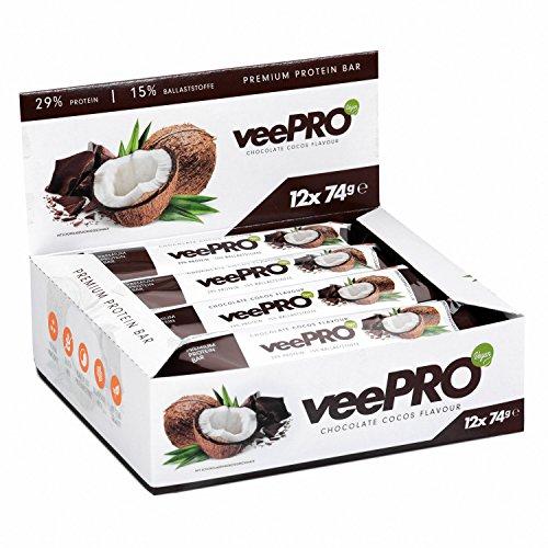 veePRO - Hochwertiger Veganer Protein Riegel aus Erbsenproteinisolat und Reisproteinkonzentrat / Eiweiß-Riegel reich an Ballaststoffen und gesunden Fetten / 12 x 74g Proteinbars Glutenfrei und Laktosefrei CHOCOLATE-COCOS