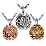 Valyria Cremation Jewelry Urn Pendant Necklace with Hollow Diamond Butterfly Beads Engraved 'Always in my heart'