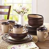 Better Homes and Gardens 16-Piece Sierra Dinnerware Set, Beige