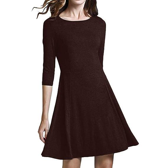 Sylar Vestidos Invierno Mujer Otoño Moda Color sólido Cuello Redondo Manga Larga Casual Falda Acampanada Falda