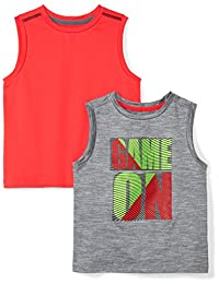 Spotted Zebra Boys 2-Pack Active Muscle Tank Tops
