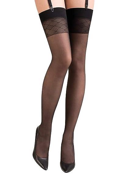c92eeb7a5f4 Ladies Fabulous Sexy Black Diamond Print Top Sheer Black Stockings   Amazon.co.uk  Clothing