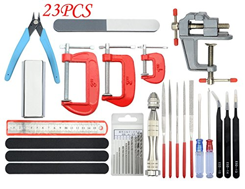 BXQINLENX Professional 23 PCS Gundam Modeler Basic Tools Craft Set for Car Airplane Building Model Assemble Building or Any Other DIY Works(K)